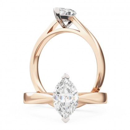 A classic marquise cut solitaire diamond ring in 18ct rose & white gold
