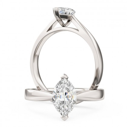 A classic Marquise Cut solitaire diamond ring in 18ct white gold