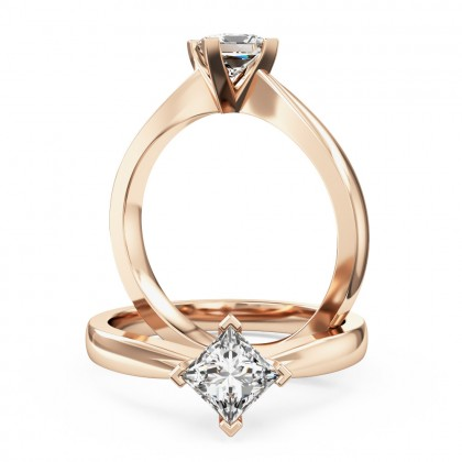 An elegant princess cut solitaire diamond ring in 18ct rose gold