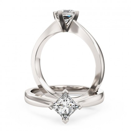 An elegant Princess Cut solitaire diamond ring in platinum (In stock)