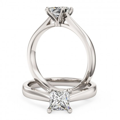 A classic Princess Cut solitaire diamond ring in platinum