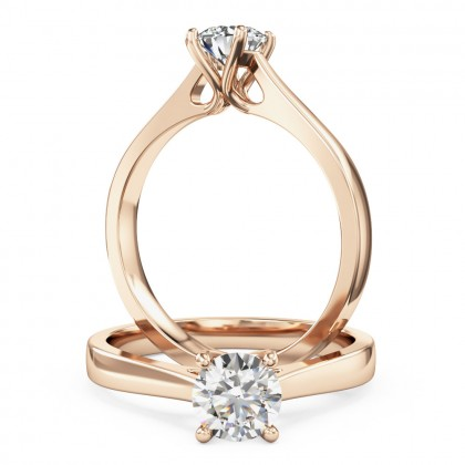 A classic round brilliant cut solitaire diamond ring in 18ct rose gold