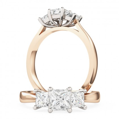 A classic three stone Princess Cut diamond ring in 18ct rose & white gold