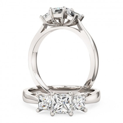 A classic three stone Princess Cut diamond ring in platinum