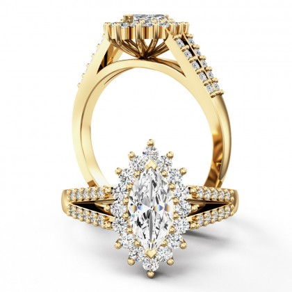 A breathtaking marquise cut cluster style diamond ring in 18ct yellow gold