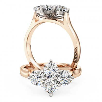 A charming round brilliant cut diamond ring in 18ct rose & white gold