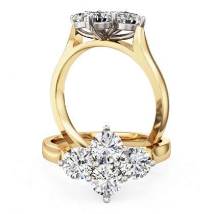 A charming Round Brilliant Cut cluster diamond ring in 18ct yellow & white gold