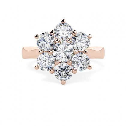 An elegant Round Brilliant Cut cluster diamond ring in 18ct rose gold
