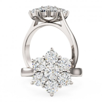 An elegant Round Brilliant Cut cluster diamond ring in platinum (In stock)