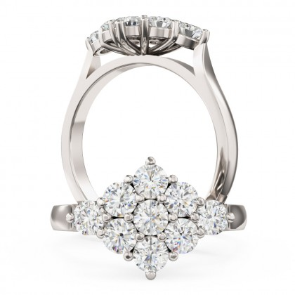 A beautiful Round Brilliant Cut cluster diamond ring in 18ct white gold