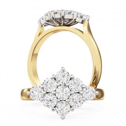A beautiful Round Brilliant Cut cluster diamond ring in 18ct yellow & white gold