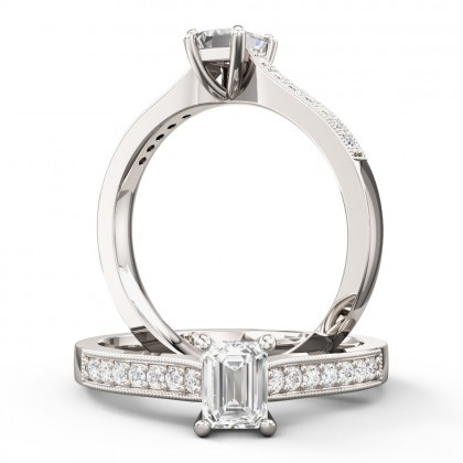 A beautiful Emerald Cut diamond ring with shoulder stones in 18ct white gold