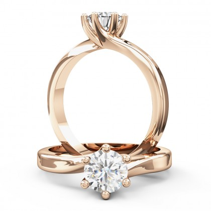 A beautiful twist round brilliant cut diamond ring in 18ct rose gold