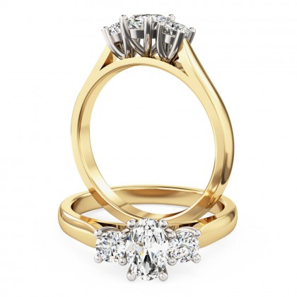 A stunning oval and round brilliant c three stone diamond ring in 18ct yellow & white gold