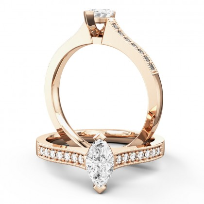 A beautiful Marquise Cut diamond ring with shoulder stones in 18ct rose gold