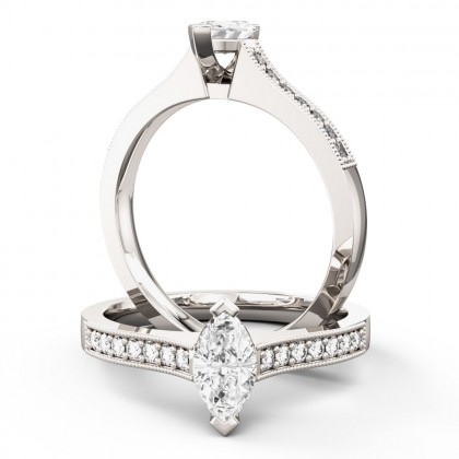 A beautiful marquise cut diamond ring with shoulder stones in platinum