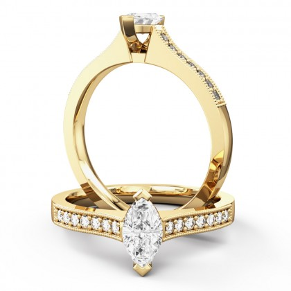 A beautiful marquise cut diamond ring with shoulder stones in 18ct yellow gold