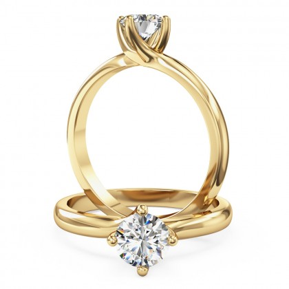 An elegant Round Brilliant Cut solitaire diamond ring in 18ct yellow gold