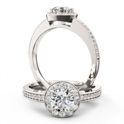 A stunning Round Brilliant Cut halo style diamond ring in 18ct white gold