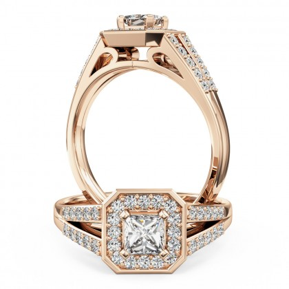 A stunning Princess Cut diamond ring in 18ct rose gold