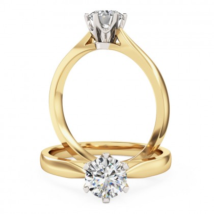 A classic Round Brilliant Cut solitaire diamond ring in 18ct yellow & white gold