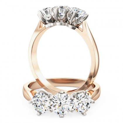 A classic Round Brilliant Cut three stone diamond ring in 18ct rose & white gold (In stock)