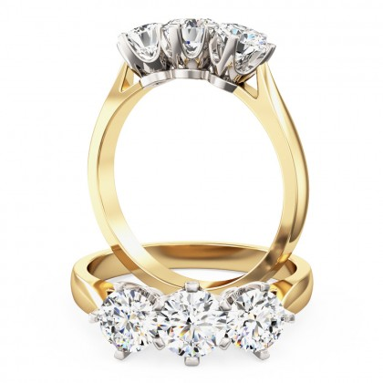 A classic Round Brilliant Cut three stone diamond ring in 18ct yellow & white gold (In stock)