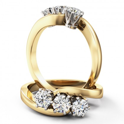 A unique round brilliant cut three stone diamond twist ring in 18ct yellow & white gold