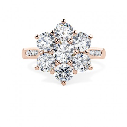 A stunning Round Brilliant Cut diamond cluster ring with shoulder stones in 18ct rose gold
