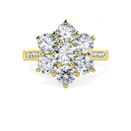 A stunning round diamond cluster with shoulder stones in 18ct yellow gold