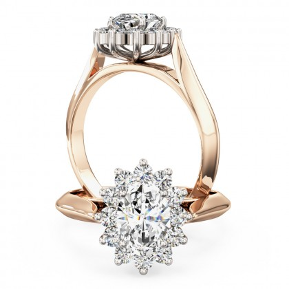 A stunning oval diamond halo ring in 18ct rose & white gold