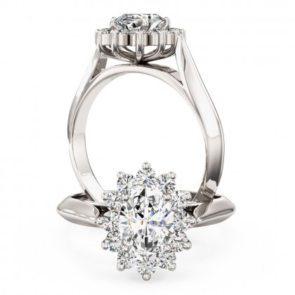 A stunning Oval & Round Brilliant Cut cluster diamond ring in platinum