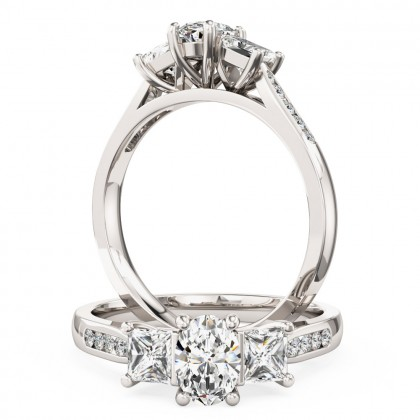A beautiful oval and princess cut diamond ring with shoulder stones in 18ct white gold