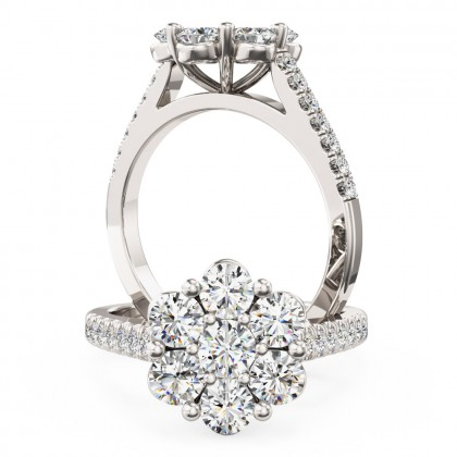 A breathtaking Round Brilliant Cut cluster diamond ring in platinum