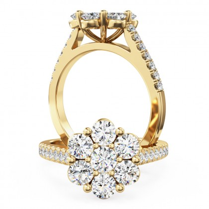 A breathtaking round brilliant cut diamond ring in 18ct yellow gold
