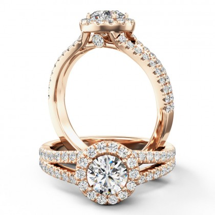 A stunning diamond halo cluster with shoulder stones in 18ct rose gold