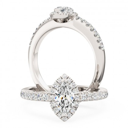 A stunning Marquise cut halo diamond ring with shoulder stones in platinum