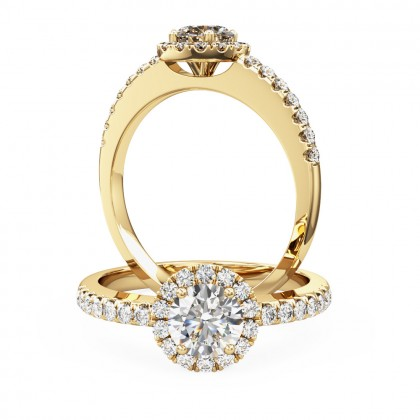 A classic round brilliant cut diamond halo with shoulder stones in 18ct yellow gold