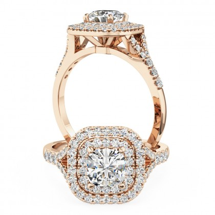 A luxurious Cushion Cut double halo diamond ring with shoulder stones in 18ct rose gold