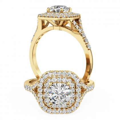A luxurious cushion cut diamond double halo with shoulder stones in 18ct yellow gold