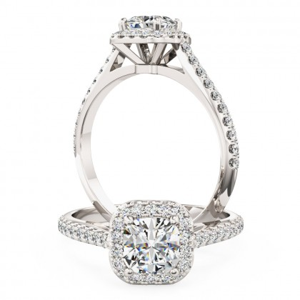 A stunning Cushion Cut halo style diamond ring with shoulder stones in platinum (In stock)