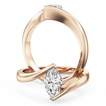 An eye catching marquise cut solitaire diamond ring in 18ct rose gold