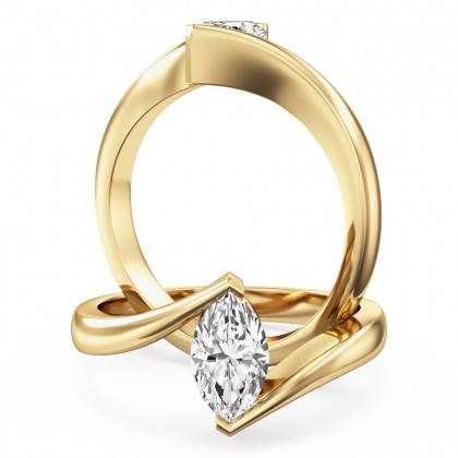 An eye catching marquise cut solitaire diamond ring in 18ct yellow gold