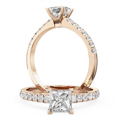A beautiful Princess Cut diamond ring with shoulder stones in 18ct rose gold