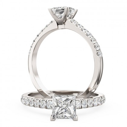 A beautiful Princess Cut diamond ring with shoulder stones in 18ct white gold (In stock)