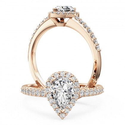 A stunning Pear Shaped cluster diamond ring with shoulder stones in 18ct rose gold