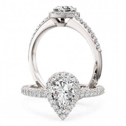 An amazing pear shaped diamond halo with shoulder stones in 18ct white gold