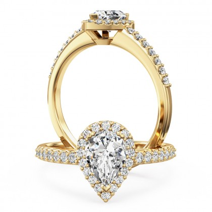 An amazing pear shaped diamond halo with shoulder stones in 18ct yellow gold (In stock)