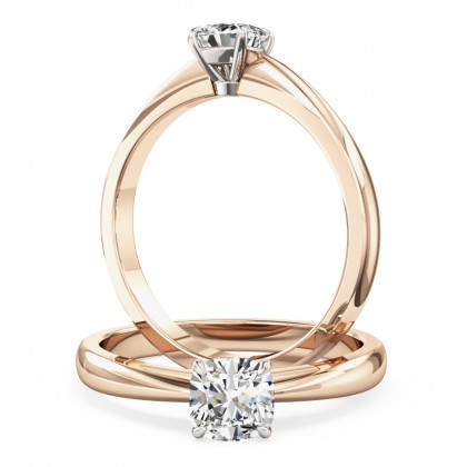 A classic Cushion Cut solitaire diamond ring in 18ct rose & white gold
