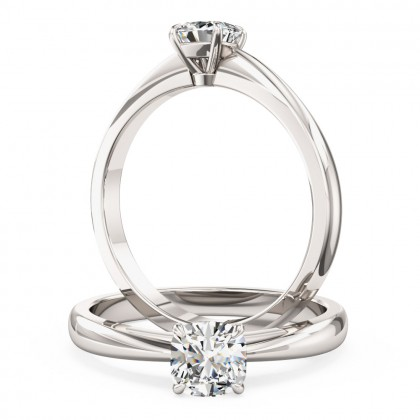 A classic Cushion Cut solitaire diamond ring in platinum